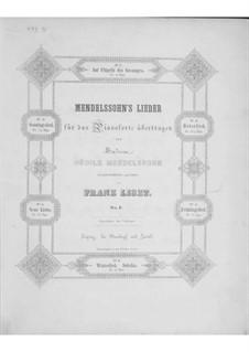 Transcriptions on Songs by Mendelssohn, S.547: set completo by Franz Liszt