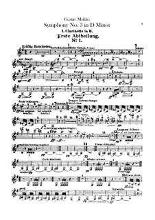 Symphony No.3 in D Minor: parte clarinetas by Gustav Mahler