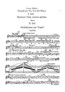 Symphony No.8 in E Flat Major: parte piano by Gustav Mahler