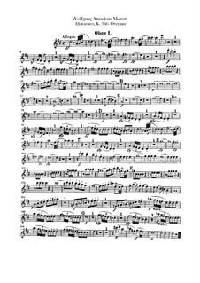Overture: parte de oboes by Wolfgang Amadeus Mozart