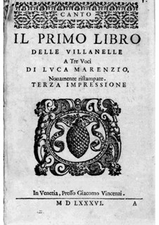 Villanelles: Book I – Soprano Part by Luca Marenzio