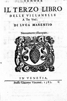 Villanelles: Book III – Tenor Part by Luca Marenzio