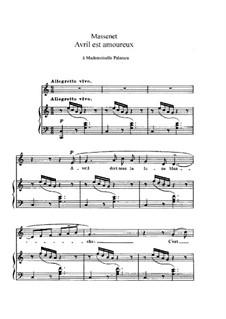 Avril est amoureux: em C maior by Jules Massenet