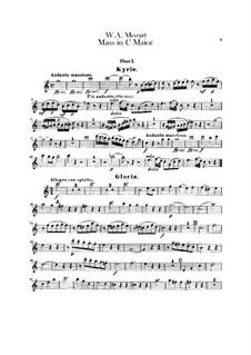 Coronation Mass No.15 in C Major, K.317: parte de oboes by Wolfgang Amadeus Mozart
