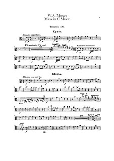 Coronation Mass No.15 in C Major, K.317: parte trombones by Wolfgang Amadeus Mozart