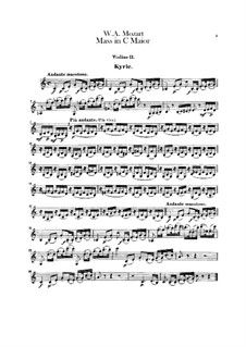 Coronation Mass No.15 in C Major, K.317: violino parte II by Wolfgang Amadeus Mozart