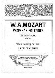 Vesperae solennes de confessore, K.339: Partitura piano-vocal by Wolfgang Amadeus Mozart