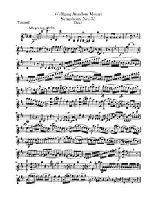 Symphony No.35 in D Major 'Haffner', K.385: violino parte I by Wolfgang Amadeus Mozart