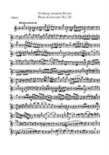 Concerto for Piano and Orchestra No.21 in C Major, K.467: parte de oboes by Wolfgang Amadeus Mozart