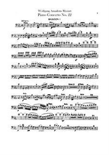 Concerto for Piano and Orchestra No.22 in E Flat Major, K.482: parte fagotes by Wolfgang Amadeus Mozart