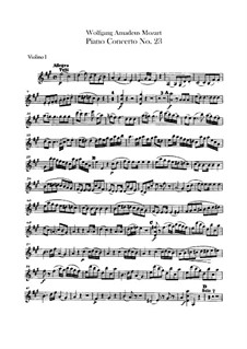 Concerto for Piano and Orchestra No.23 in A Major, K.488: violino parte I by Wolfgang Amadeus Mozart