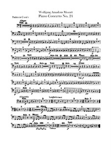 Concerto for Piano and Orchestra No.24 in C Minor, K.491: Peça para Timpano by Wolfgang Amadeus Mozart