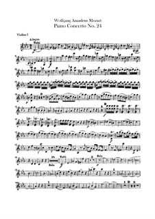 Concerto for Piano and Orchestra No.24 in C Minor, K.491: violino parte I by Wolfgang Amadeus Mozart
