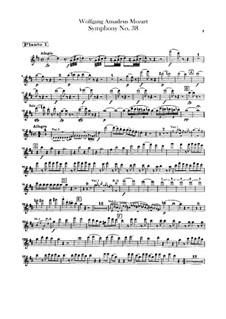 Symphony No.38 in D Major 'Prague', K.504: parte de flautas by Wolfgang Amadeus Mozart