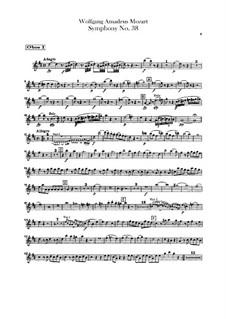 Symphony No.38 in D Major 'Prague', K.504: parte de oboes by Wolfgang Amadeus Mozart