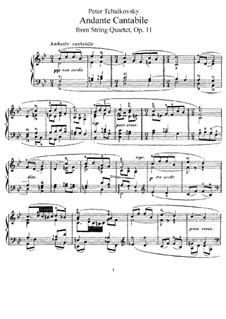 String Quartet No.1 in D Major, TH 111 Op.11: Movimento II, para piano by Pyotr Tchaikovsky