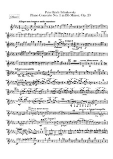 Concerto for Piano and Orchestra No.1 in B Flat Minor, TH 55 Op.23: parte de oboes by Pyotr Tchaikovsky