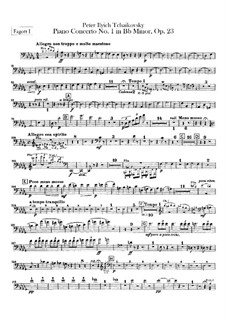 Concerto for Piano and Orchestra No.1 in B Flat Minor, TH 55 Op.23: parte fagotes by Pyotr Tchaikovsky