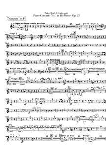 Concerto for Piano and Orchestra No.1 in B Flat Minor, TH 55 Op.23: parte trompetas by Pyotr Tchaikovsky