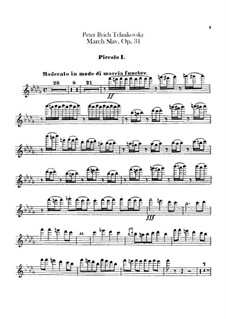 Slavonic March, TH 45 Op.31: Flute piccolo parts by Pyotr Tchaikovsky