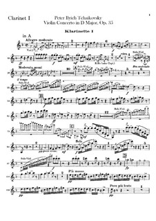 Concerto for Violin and Orchestra in D Major, TH 59 Op.35: parte clarinetas by Pyotr Tchaikovsky