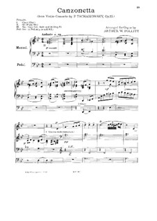 Concerto for Violin and Orchestra in D Major, TH 59 Op.35: Movement II, for organ by Pyotr Tchaikovsky