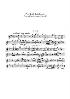 Pezzo Capriccioso for Cello and Orchesrta, TH 62 Op.62: parte de oboes by Pyotr Tchaikovsky