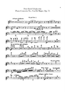 Concerto for Piano and Orchestra No.3 in E Flat Major, TH 65 Op.75: parte de flautas by Pyotr Tchaikovsky