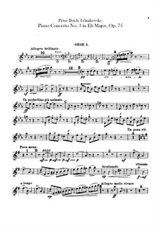 Concerto for Piano and Orchestra No.3 in E Flat Major, TH 65 Op.75: parte de oboes by Pyotr Tchaikovsky