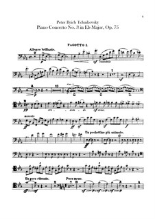 Concerto for Piano and Orchestra No.3 in E Flat Major, TH 65 Op.75: parte fagotes by Pyotr Tchaikovsky