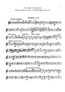 Concerto for Piano and Orchestra No.3 in E Flat Major, TH 65 Op.75: parte trompetas by Pyotr Tchaikovsky