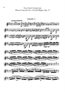Concerto for Piano and Orchestra No.3 in E Flat Major, TH 65 Op.75: violinos parte I by Pyotr Tchaikovsky