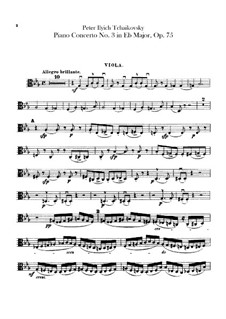 Concerto for Piano and Orchestra No.3 in E Flat Major, TH 65 Op.75: parte violas by Pyotr Tchaikovsky
