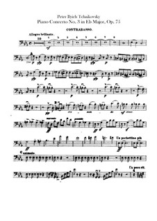Concerto for Piano and Orchestra No.3 in E Flat Major, TH 65 Op.75: Parte contrabaixo by Pyotr Tchaikovsky