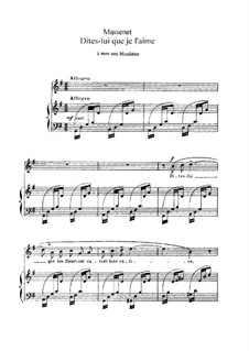 Dites-lui que je l'aime: em G maior by Jules Massenet