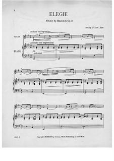 Dix pièces de genre, Op.10: No.5 Mélodie (Élégie), for violin and piano by Jules Massenet