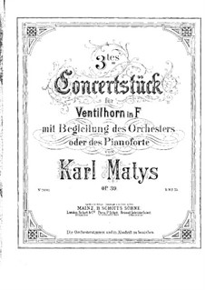 Concert Piece No.3 for French Horn and Piano, Op.39: Score by Karl Matys