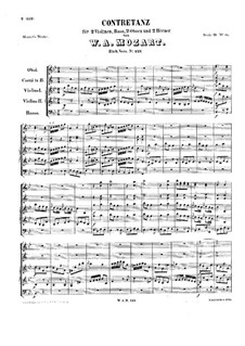 Contredanse for Orchestra in B Flat Major, K.123: partitura completa by Wolfgang Amadeus Mozart