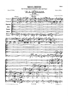 Mass No.6 in F Major (Missa brevis No.3), K.192: Partitura completa by Wolfgang Amadeus Mozart