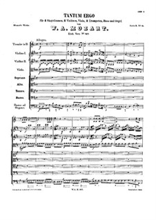 Tantum ergo in D Major, K.197: Tantum ergo in D Major by Wolfgang Amadeus Mozart