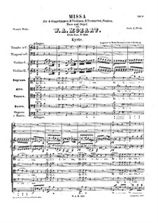 Mass No.11 in C Major (Missa brevis No.7) 'Piccolomini', K.258: Partitura completa by Wolfgang Amadeus Mozart