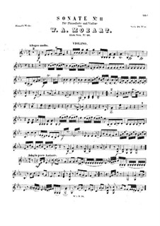 Sonata for Violin and Piano in E Flat Major, K.26: Parte de solo by Wolfgang Amadeus Mozart