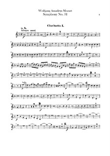 Symphony No.31 in D Major 'Paris', K.297: parte clarinetas by Wolfgang Amadeus Mozart