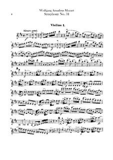 Symphony No.31 in D Major 'Paris', K.297: parte violinos by Wolfgang Amadeus Mozart
