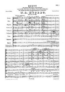 The Philosopher's Stone, K.625: Duet 'Nun liebes Weibchen', for voices and chamber orchestra by Wolfgang Amadeus Mozart