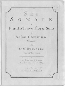 Six Sonatas for Flute and Basso Continuo: Seis sonatas para flauta e basso continuo by William Reinards