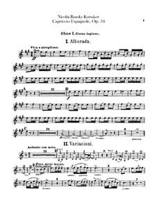 Capriccio Espagnol, Op.34: Oboes (or cor anglais) parts by Nikolai Rimsky-Korsakov
