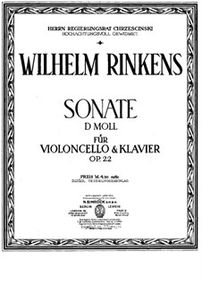 Sonata for Cello and Piano in D Minor, Op.22: Parte de solo by Wilhelm Rinkens