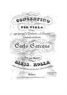 Concertino for Viola and Orchestra, BI 328: Parte de viola solo by Alessandro Rolla