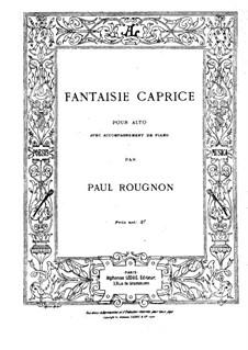 Fantasia-Caprice for Viola and Piano: parte Solo by Paul Rougnon